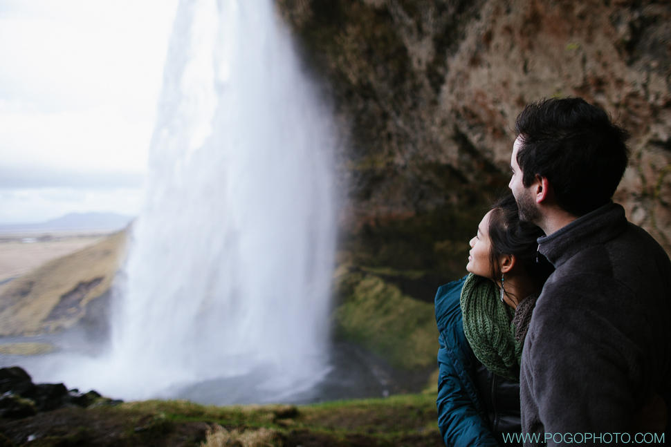 Portraits at Iceland waterfall Selandjafoss
