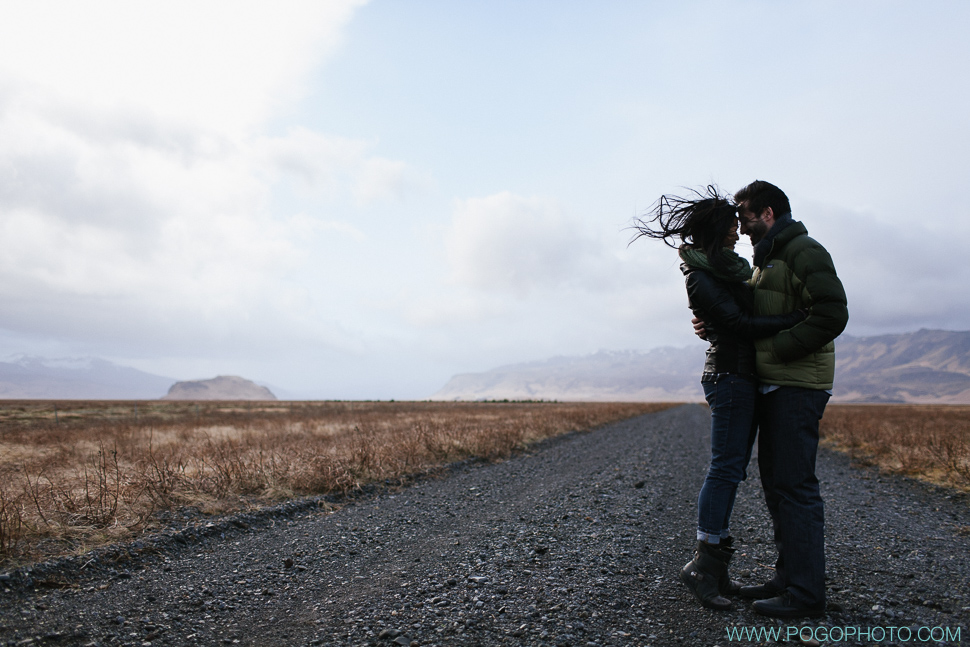 Romantic portraits on black gravel roads in Iceland