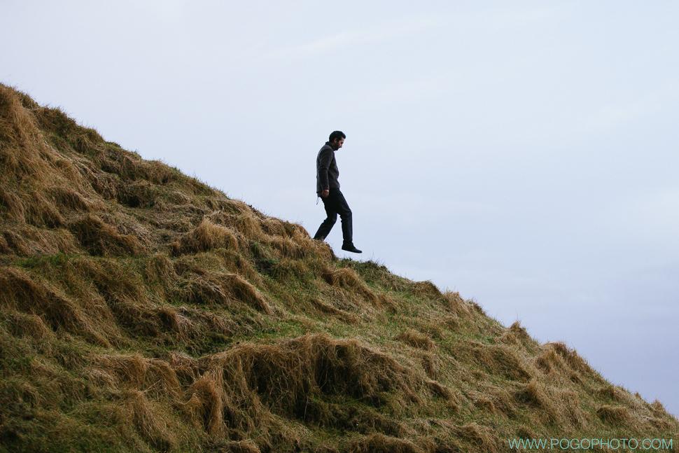Steep hill in Iceland near Selandjafoss